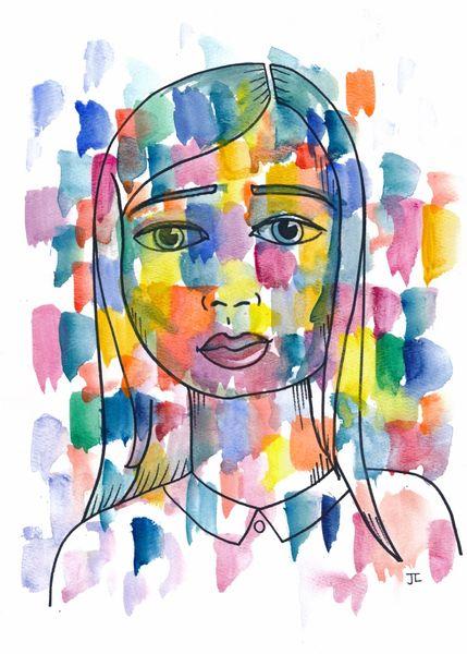 """Mosaic Girl Original Watercolor 9"""" x 12"""""""