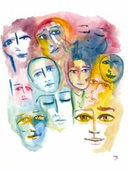 "Colorful Faces 9x12"" Original Watercolor"