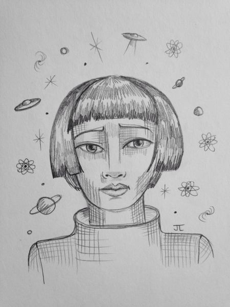 "Cosmic girl 9x6"" graphite drawing"