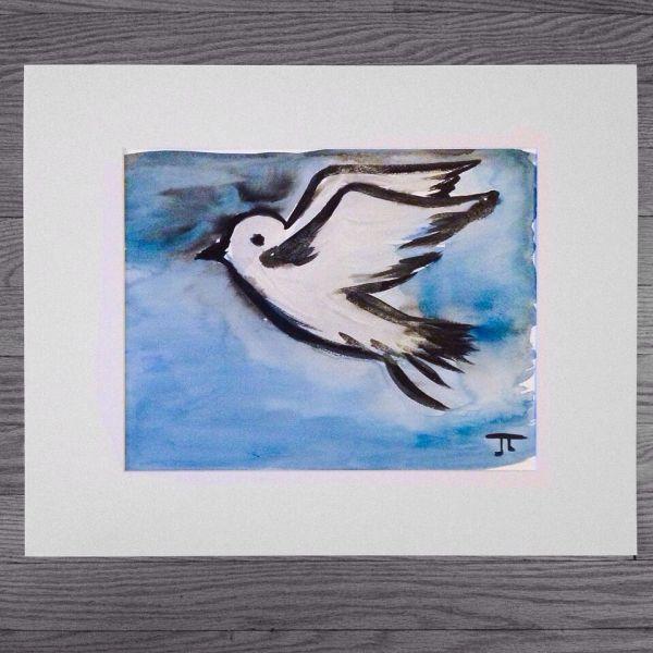 "Dove 11x15"" paper original watercolor"