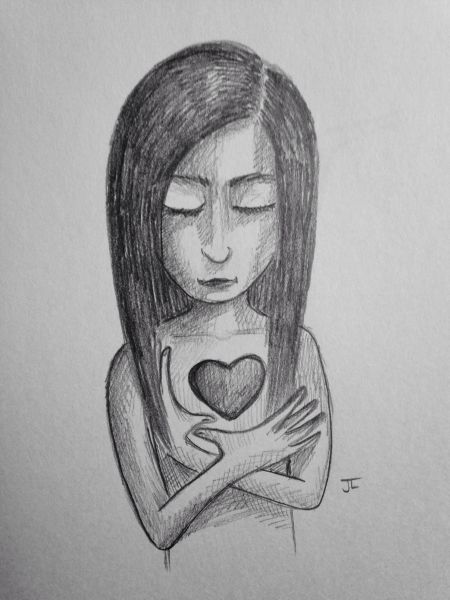 "SOLD Heart girl 9x6"" graphite drawing"