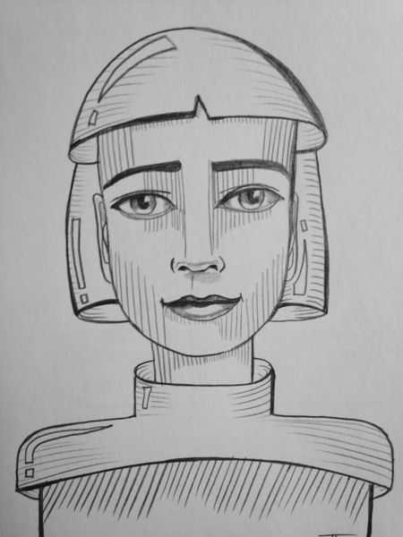 "Future girl 9x6"" graphite drawing"