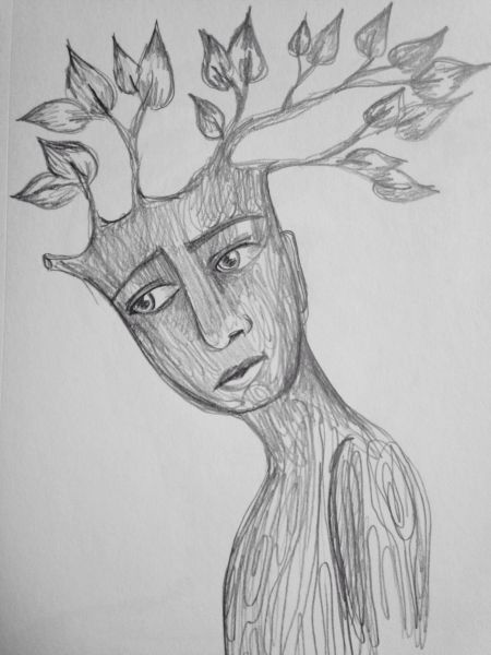 "Tree boy 9x6"" graphite drawing"
