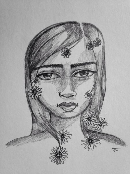 "Flower girl 9x6"" graphite drawing"
