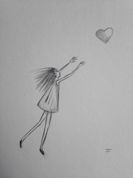 "Heart chase 9x6"" graphite drawing"