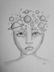 "Cosmic mind 9x6"" graphite drawing"