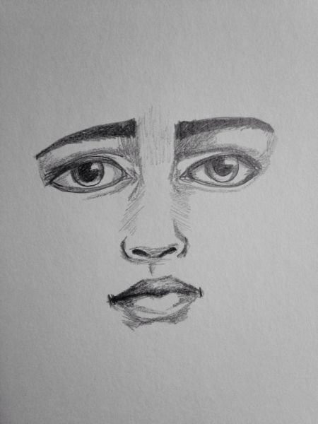 "SOLD Lovely Face 9x6"" graphite drawing"