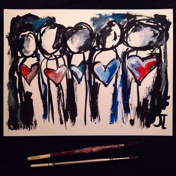 "SOLD Heart people group original 9x12"" India ink and watercolor"