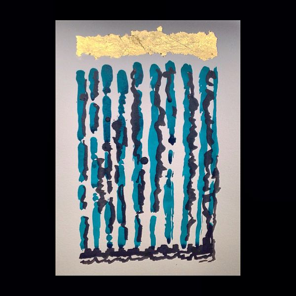 """Teal and Black with Gold Leaf Original 11x15"""""""