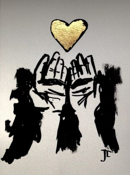 "SOLD 9x12"" gold leaf hands and heart"
