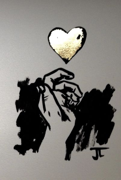 """SOLD 9x12"""" Gold leaf Heart and Hand"""