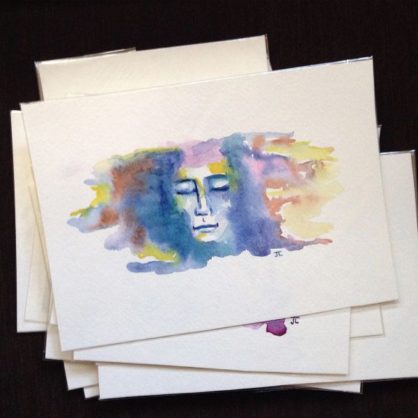 SOLD Eternal face mini watercolor