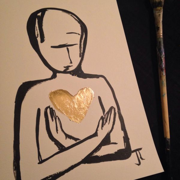SOLD Gold heart figure 9x12""