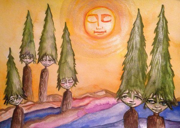 "SOLD Tree People 11x15"" Original Watercolor"