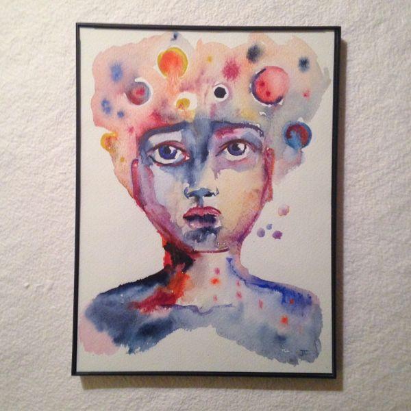 "SOLD 9x12"" Cosmic Being Original Watercolor"