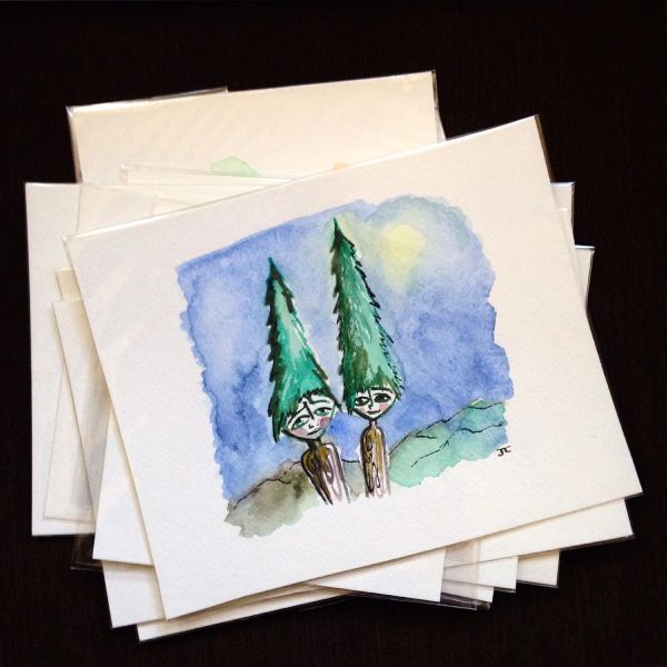 SOLD Original Mini Tree People Watercolor