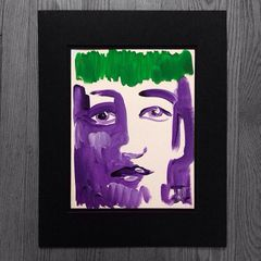 "11x15"" Green and Purple face - Original Acrylic Painting"