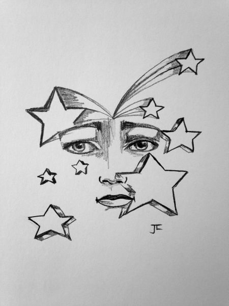 "Stellar Face 6x9"" Paper Original Graphite Drawing"