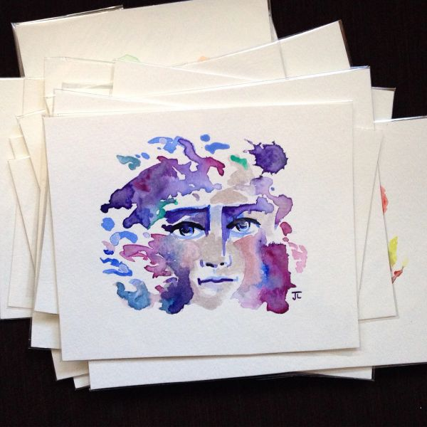 SOLD Colorful face original mini watercolor