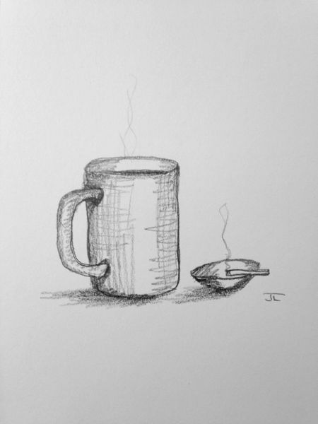 "Coffee and Cigarette 6x9"" Paper Original Graphite Drawing"