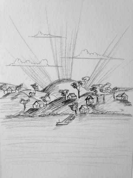 "Landscape 6x9"" Paper Original Graphite Drawing"