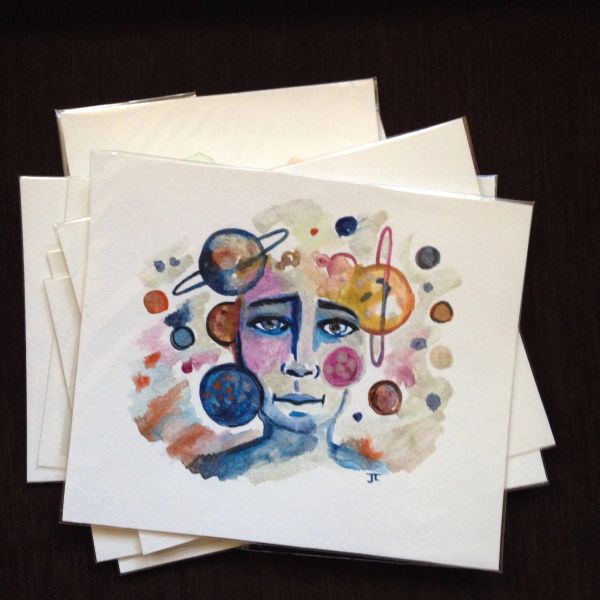 SOLD Planetary face original mini watercolor