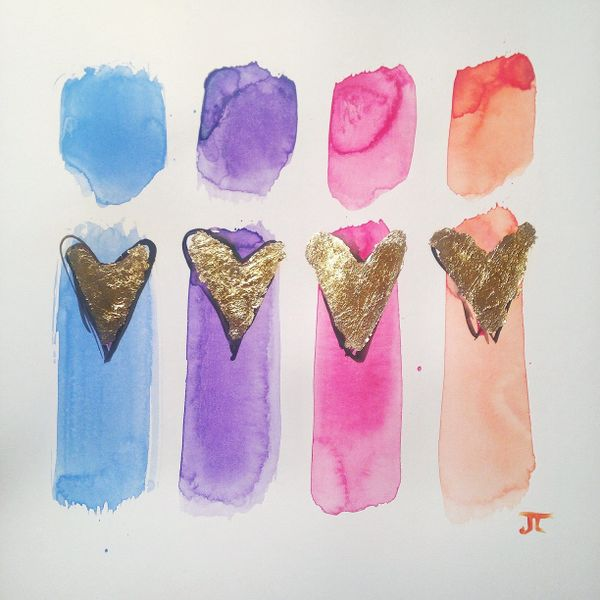 "SOLD Colorful love 12"" x 12"" watercolor and gold leaf"