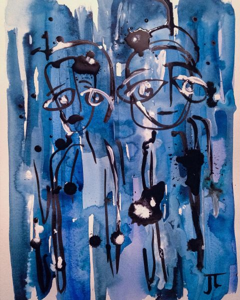 "Two figures in blue 11x15"" India ink and watercolor"