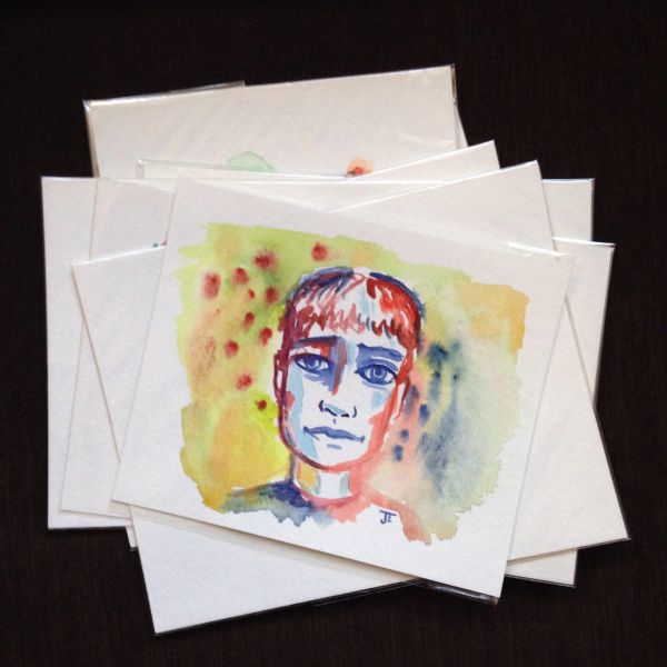 Boy original mini watercolor