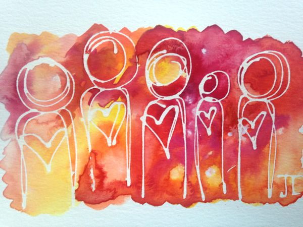 Cosmic Heart People Watercolor Mini 6x9""