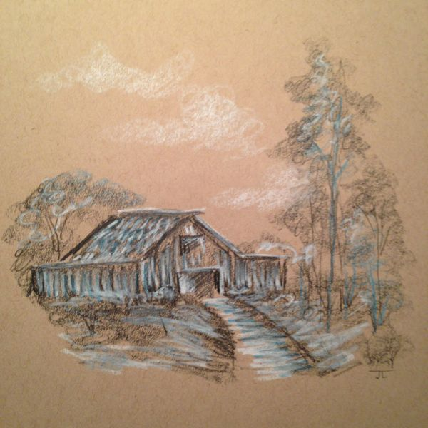 "Cabin in the Woods Graphite Drawing on Tan Paper 7"" square"