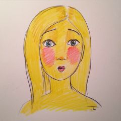 "Emoji Girl Surprise - Color Pencil 9x12"" original"