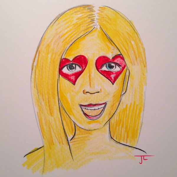 "Emoji Girl Heart Eyes - Color Pencil 9x12"" original"