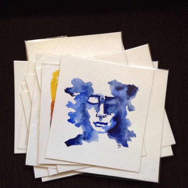 SOLD Blue face original mini watercolor