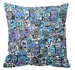 Blue Tone Graffix Pillow