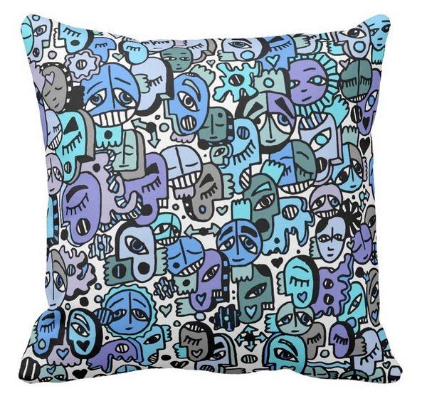 Blue Tone Graffix Pillow