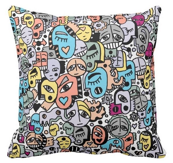 Peachy and Pastel Tone Graffix Pillow
