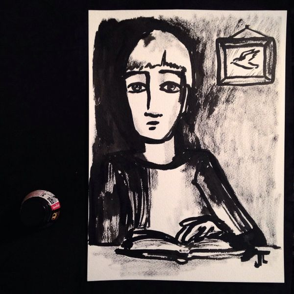 """The Reader original 11x15"""" India ink on paper"""