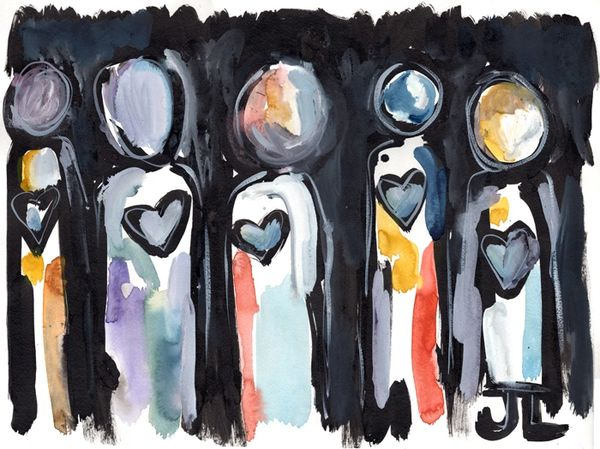 "SOLD Heart people 18x24"" watercolor and India ink"