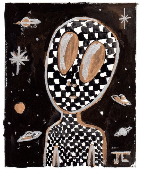 Alien Linocut and Watercolor Checkers 5 x 7""
