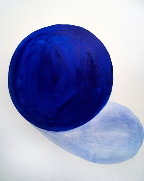 "Blue Sphere 9x12"" acrylic original"