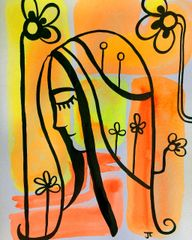 "Fluorescent Composition 3 9x12"" original"