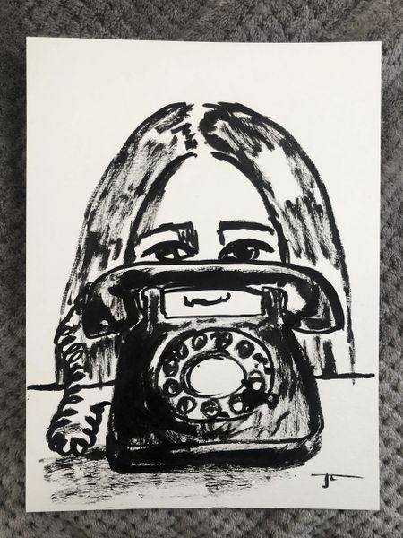 "Waiting For That Call 9x12"" Original"