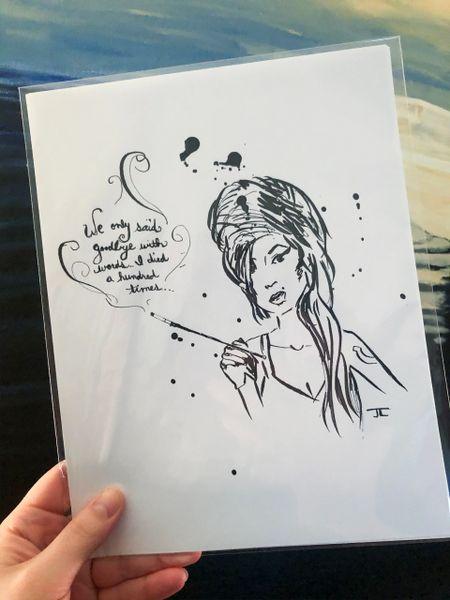 "Amy Winehouse Print 8.5x11"""