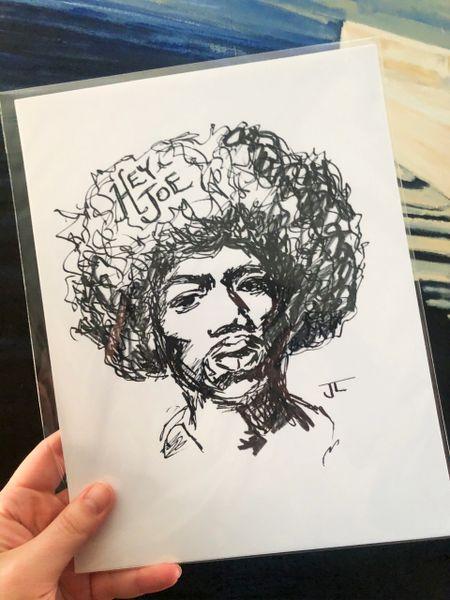 """Jimi Hendrix 8.5x11"""" Paper Print"""