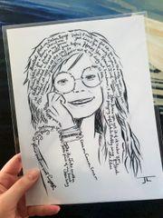 """Janis Joplin 8.5x11"""" Paper Print"""