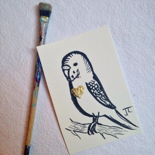 SOLD Gold heart budgie mini original ink and gold leaf