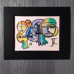 """Graffix faces 11x15"""" paper original watercolor"""