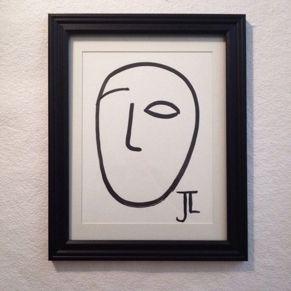 "Line face 9x12"" original ink (frame not included)"