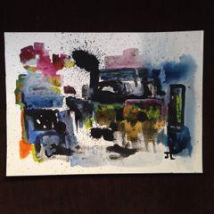 "Abstract splatter 11x15"" watercolor"